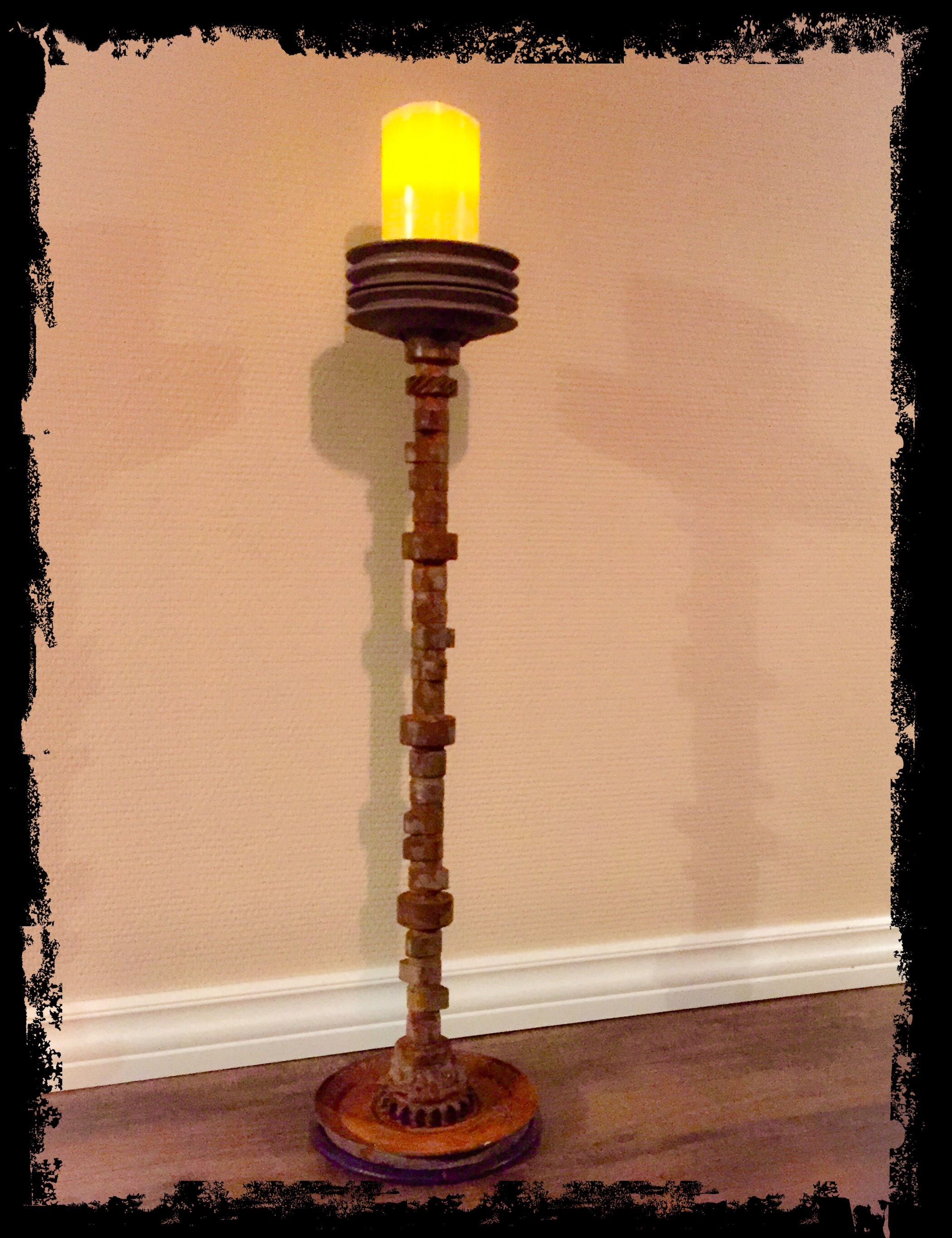 Candle holder from an old camshaft