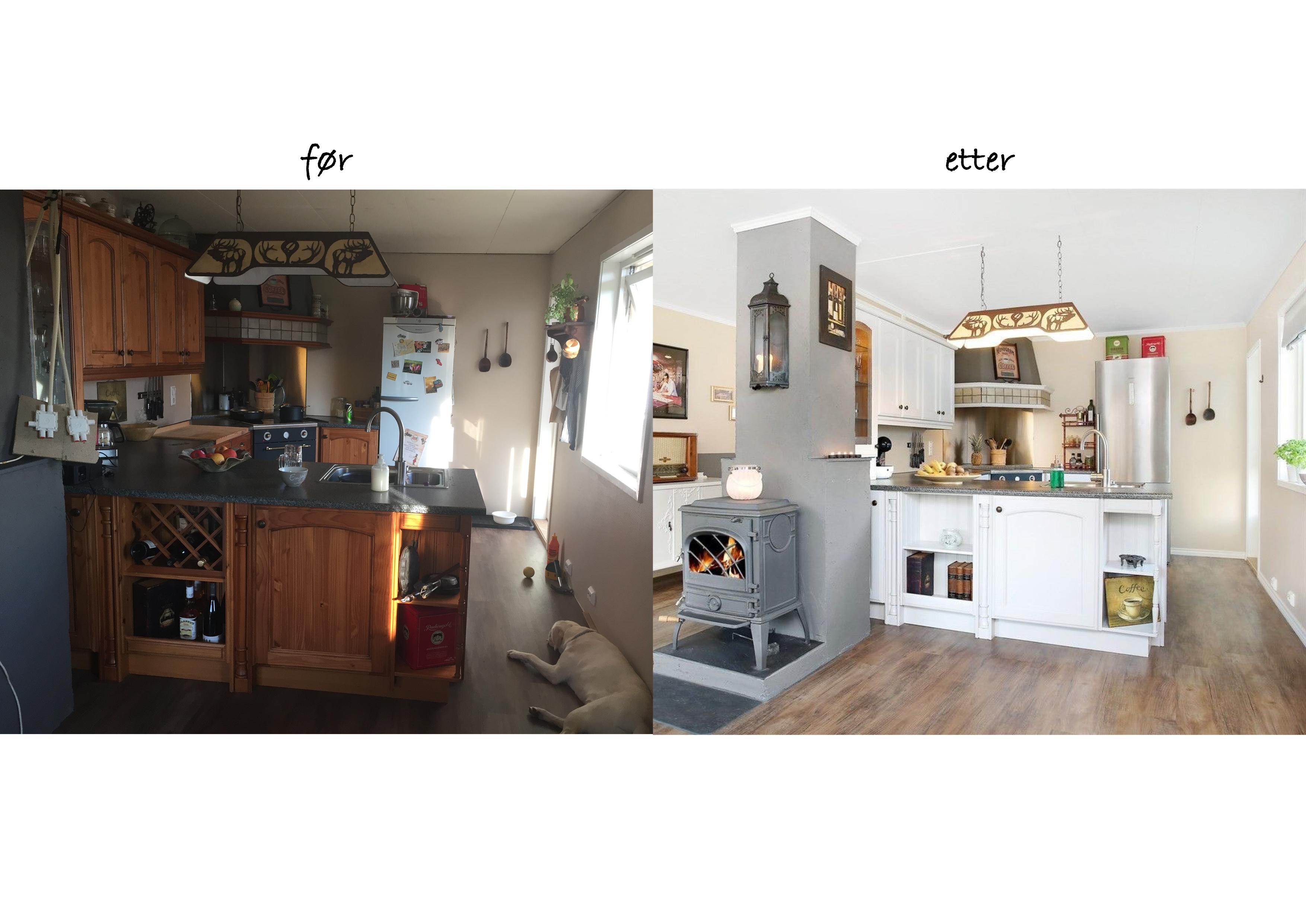 Kjøkken før etter